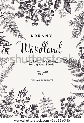 Vintage card with fern leaves and black berries. Wedding invitation. Engraving style. Botanical illustration.  Design elements. Vector. Black and white. #653116345