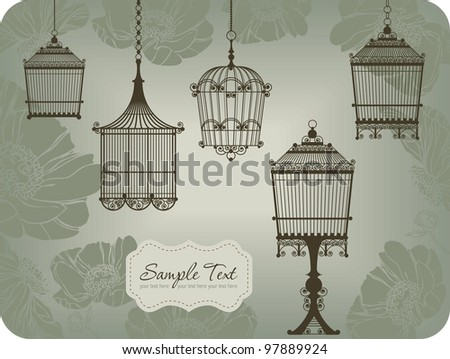 vintage card with five birdcages