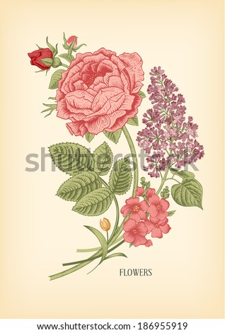 Vintage card with floral drawn Victorian bouquet of roses and lilac on a beige background. Vector design element. #186955919
