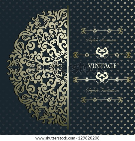Vintage card with floral golden round lace