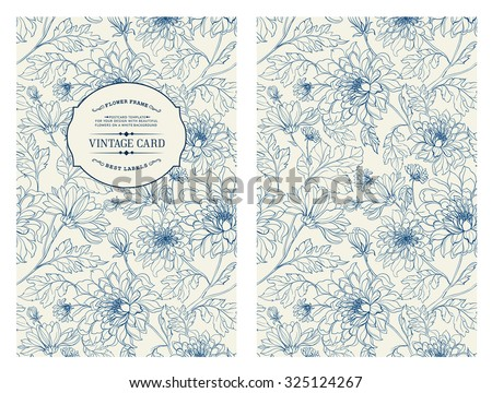 stock-vector-vintage-card-with-flowers-on-background-book-cover-with-flower-texture-blue-lines-on-white