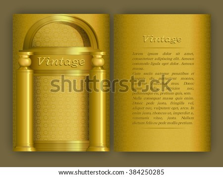 Vintage card with golden arabic texture and architectural elements. Decorative oriental templates for Brochure, Flyer or Booklet. Front page and back page, size A5. Elegant layout.