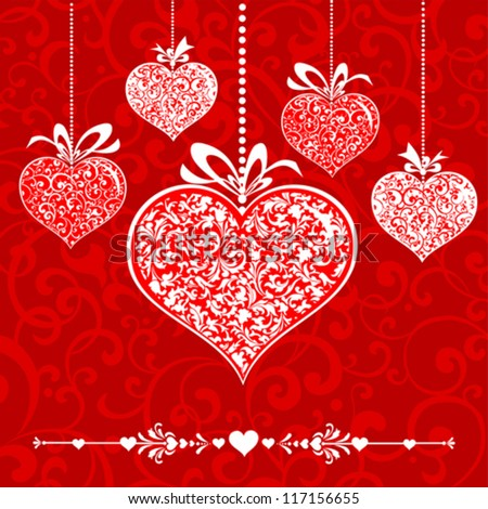 Vintage card with hearts. vector illustration