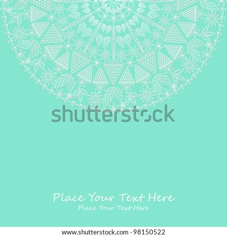 Vintage Card with Place for Text on Light Green Backdrop. Vector Illustration - stock vector
