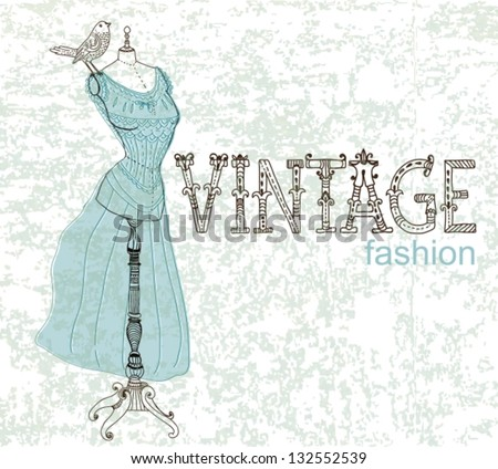Vintage card with retro dummy for design, vector