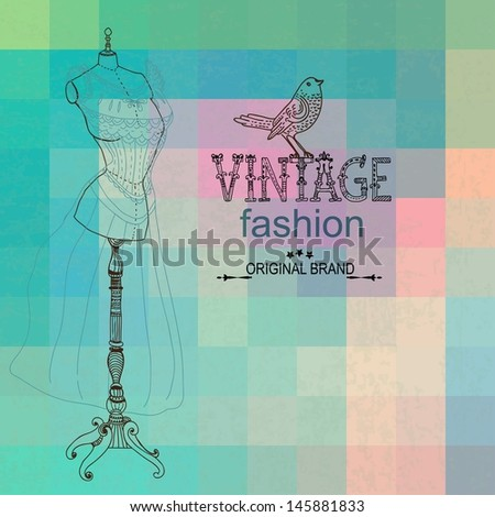 Vintage card with retro dummy over geometric color background, VECTOR