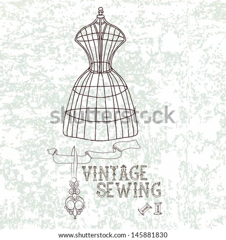 Vintage card with retro dummy overgrunge background, VECTOR