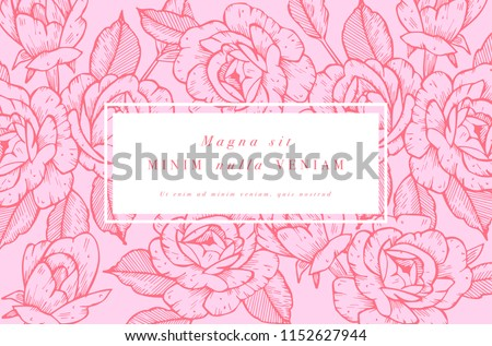 vintage card with rose flowers