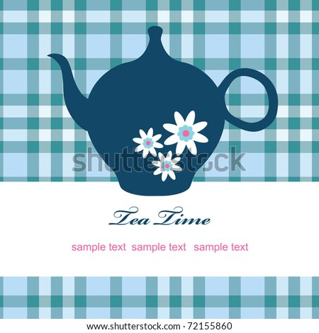 vintage card with teapot. vector illustration