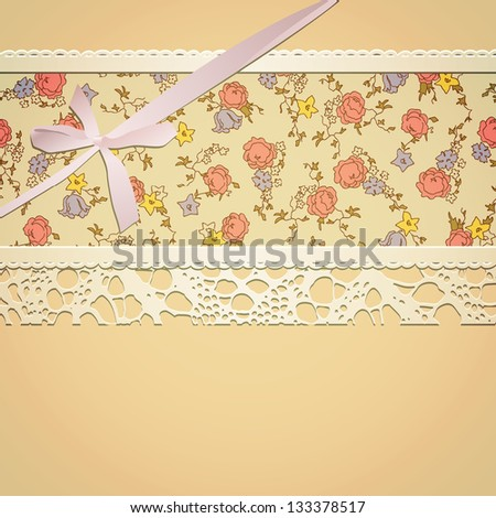 Vintage card witn floral pattern, lace and bow. EPS10 blend mode and transparency used