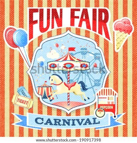 Vintage carnival fun fair theme park poster template vector illustration