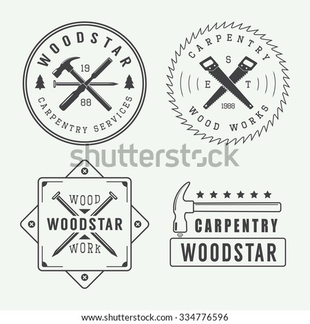 Vintage carpentry or mechanic logo, emblem, badge, label and watermark with saws, hammers, chisels, nails,trees and stars int retro style. Vector illustration