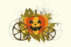 Vintage carriage - pumpkin with a cute ginger cat and rusty wheels on a light background. Sketch for a poster or postcard for the holiday of Halloween or Thanksgiving. Isolated vector cartoon .
