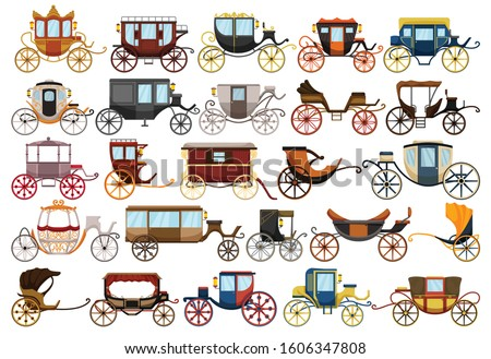 Vintage carriage vector cartoon set icon. Vector illustration set cart for princess. Isolated cartoon icon transport of vintage carriage on white background . Stock photo ©