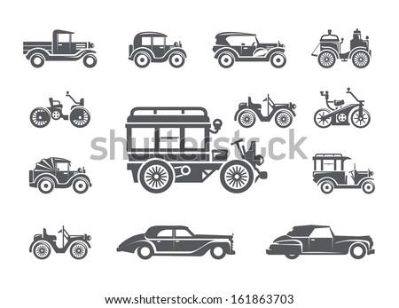 Vintage cars. Icons set