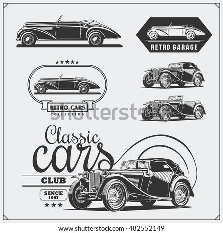 vintage cars set. retro cars...