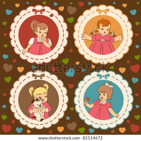 Vintage cartoon little girls on the ornate background. Vector