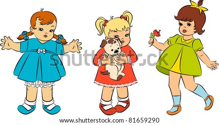 vintage cartoon little girls