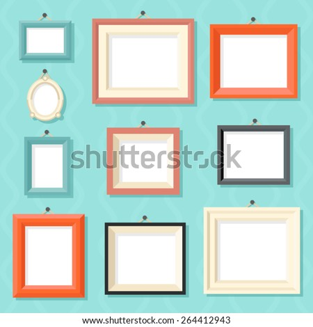 Vintage Cartoon Photo Picture Painting Drawing Frame Template Icon Set on Stylish Wall Background Retro Design Vector Illustration