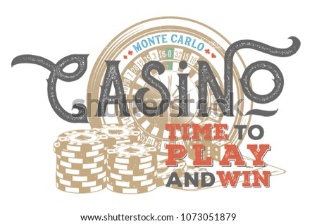 Vintage casino design for print on T-shirts, printed products and publications on the Internet. Vector illustration