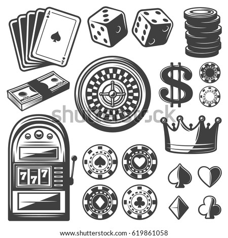 Vintage casino elements set with playing cards dice chips roulette wheel crown money slot machine isolated vector illustration