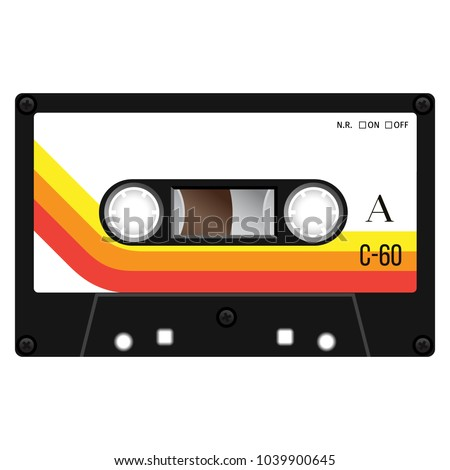 Vintage cassette illustration, simple flat design on white background.