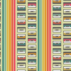 Vintage cassette seamless vector pattern design