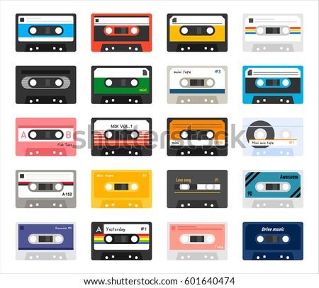 vintage cassette tape vector illustration flat design