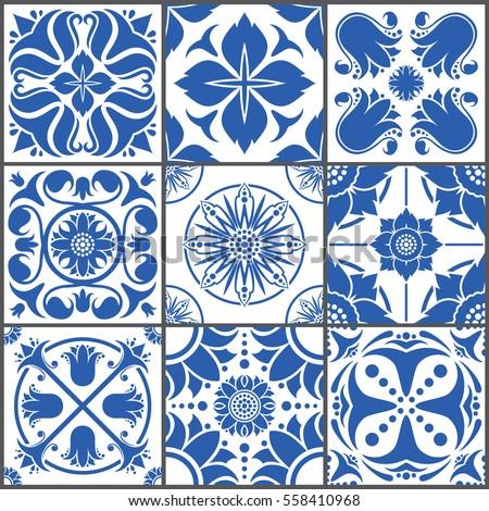 vintage ceramic tiles vector...