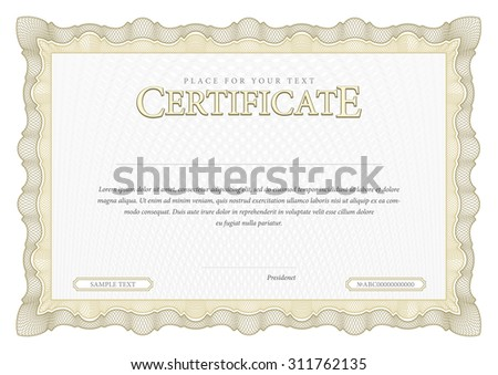 Vintage Certificate. Award background. Gift voucher. Template diplomas currency Vector illustration