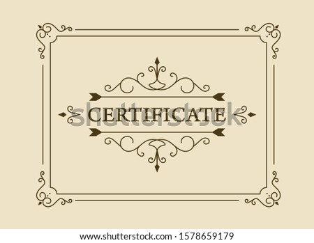 vintage certificate. certificate or coupon template with detailed border.
