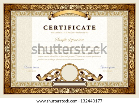 Luxurious certificate design vector template download free vintage certificate with gold luxury ornamental frames coupon diploma voucher yadclub Gallery
