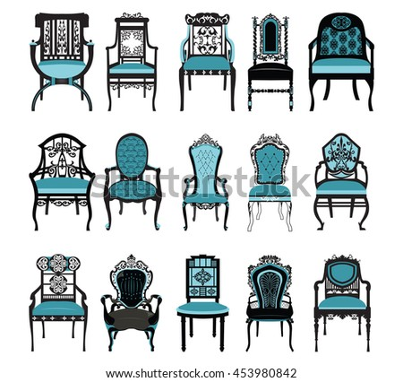 Vintage Chair Furniture Set Collection Vector. Rich Carved Ornaments  Furniture. Vector Victorian Style Furniture