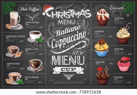 Vintage chalk drawing christmas coffe menu design. Restaurant me