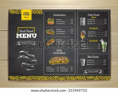Shutterstock Vintage chalk drawing fast food menu. Sandwich sketch corporate identity