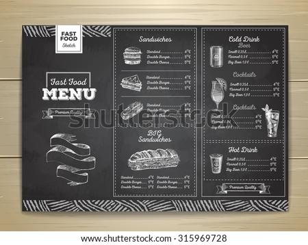 vintage chalk drawing fast food