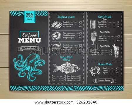 vintage chalk drawing seafood