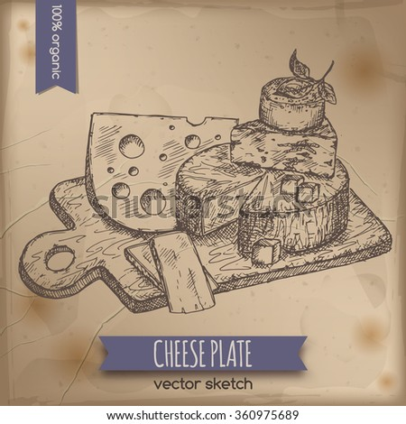 Vintage cheese plate template placed on old paper background. Great for markets, grocery stores, organic shops, food label design.