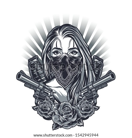 Vintage chicano tattoo concept with girl in bandana guns grenades and rose flowers isolated vector illustration