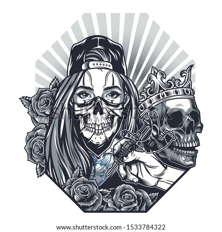 Vintage chicano tattoo concept with girl in scary mask and baseball cap skull in crown roses male hand holding tattoo machine isolated vector illustration