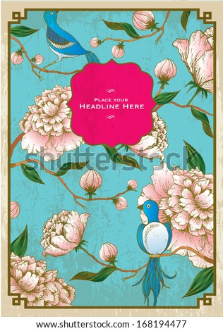 vintage chinese background of peony and birds template vector/illustration