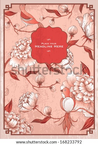 vintage chinese peony flower background template vector/illustration