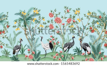 Vintage chinoiserie  floral palm tree, fruit tree, plant, crane bird, red roses seamless border blue background. Exotic oriental wallpaper.