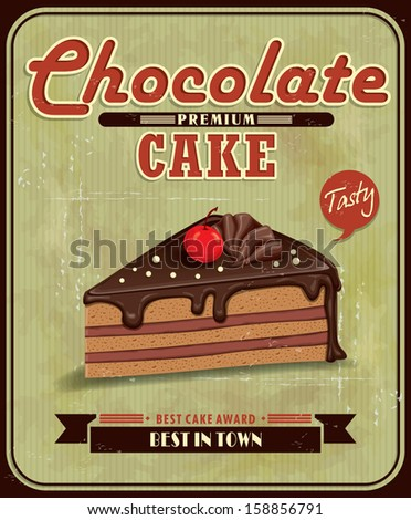 Vintage chocolate cake poster design