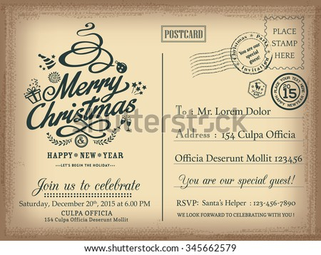 vintage christmas and happy new year holiday postcard background vector for party invitation card 345662579