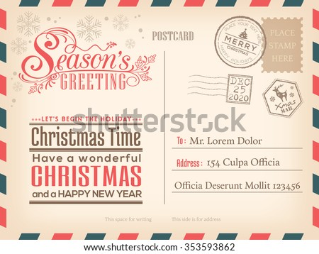 Vintage Christmas and Happy New year holiday postcard background vector for party invitation card