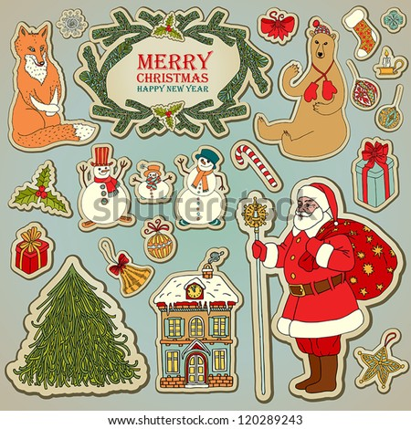 Vintage Christmas and New Year set, retro style Santa Claus, graphic Christmas tree, snowman, forest animals, holiday snowy house illustration, gifts, Christmas decorations tags for creative design.