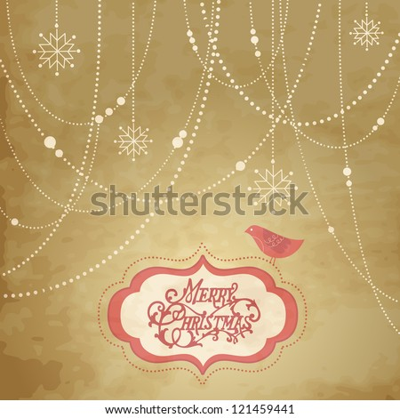 Vintage Christmas Background, christmas decorations, snowflakes and a bird
