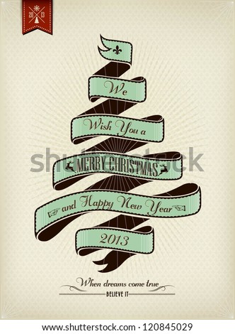 Vintage Christmas Background Flag With Typography