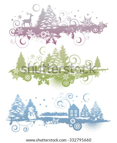 vintage christmas banners with